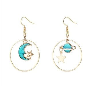 Anthropologie moon and star earrings